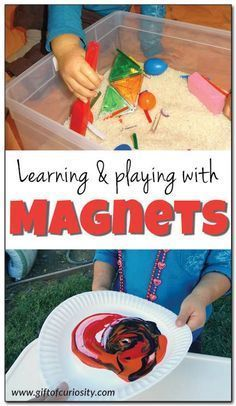 Learning and playing with magnets: Great hands-on science, sensory, and art ideas using magnets. I love these ideas for preschoolers! Kindergarten Science Activities, Science Experiments For Preschoolers, Teaching Science, Science For Kids, Preschool Activities, Science Ideas, Stem Science, Science Centers, Science Room