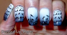 Black birds on blue to white gradient manicure