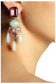 Bounkit Gold-plated amethyst and amazonite clip earrings