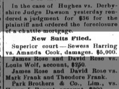 Clipping found in The Fort Wayne Journal-Gazette in Fort Wayne, Indiana on May Amanda sued by Seness in superior court Superior Court, David Rose, Amanda, Cook