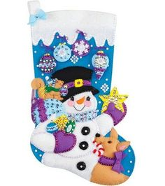 Janlynn Frosty's Favorite Ornament Stocking Felt Applique Kit