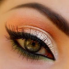 Gold & Orange eye makeup with green eyeliner, looks gorgeous with green and brown eyes