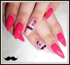 cute+nail+designs | Cute Moustache Nail Art #2 [Step by Step]