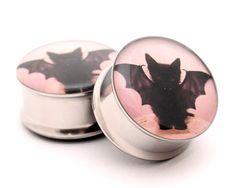 Vampire Cat Picture Plugs gauges - 16g, 14g, 12g, 10g, 8g, 6g, 4g, 2g, 0g, 00g, 7/16, 1/2, 9/16, 5/8, 3/4, 7/8, 1 inch