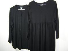 Conservative and Modest Vintage #EileenFisher Long Black Wool Maxi #Dress & Jacket. Dress size Small. Jacket size Medium.