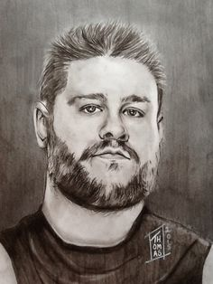 Kevin Steen AKA Kevin Owens (1984-) Artist: Nancy Thomas Medium: Charcoal and Graphite 9X12 Private collection