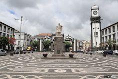 Roc2c açores são miguel ponta delgada portas cidade calçada portuguesa