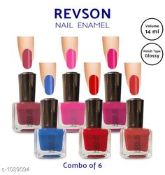 Nails  Premium Glossy Nail Polish(Pack of 6)  *Product Name* Revson Nail Polish  *Product  Type* Nail Polish  *Brand Name* Revson  *Capacity* 14 ml  *Shade* Multicolour  *Finish Type* Glossy  *Applicator * Brush  *Package Contains* It Has 6 Pack of Nail Polish  *Sizes Available* Free Size *   Catalog Rating: ★4 (6058)  Catalog Name: Nail Polish Revson Premium Glossy Nail Polish Combo Vol 1 CatalogID_125966 C51-SC1244 Code: 631-1039094-