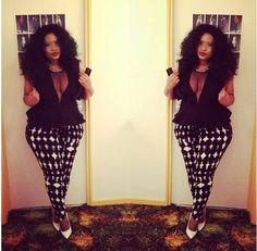 Harlequin Pants + Black & Sheer Peplum + White Heels
