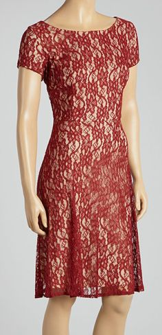 Garnet Lace Overlay Scoop Neck Dress...in love with this!