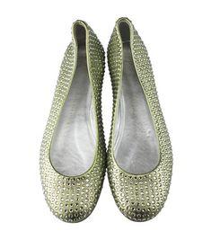 Giuseppe Zanotti Swarovski Crystal Embellished Ballerina Flats Metallic Shoes