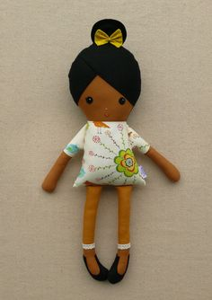 Fabric Doll Rag Doll Girl in Bird Floral Dress. $34.00, via Etsy. For Kebor.