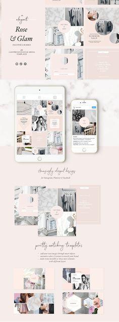 Feminine Social Media Templates - Instagram, rose color social media graphics, #affiliate
