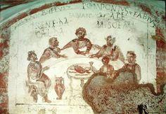 Banquet scene, Cimitero dei SS. Marcellino e Pietro, Rome. Size: 100 x 75 cm (39,3 x 29,5 inches), late 3rd c.