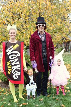 Willy Wonka family costumes. Heather I so can see you guys doing this. :)