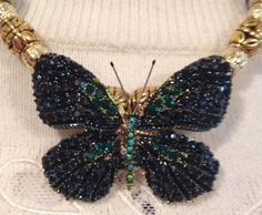 """Butterfly Necklace/16""""/Glass & Metal Beads/Blue/Green/Gold/Christmas Gift #Handmade #Pendant"""