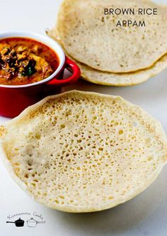 Recipe for making Kerala Brown Rice Appam – Kerala Palappam made with soaked and ground brown rice and coconut. These lacey appams make a delicious breakfast. These appams are made with the addition of yeast. Recipes With Yeast, Indian Food Recipes, Cooking Recipes, Kerala Recipes, Indian Desserts, Indian Snacks, Brown Rice Cooking, Brown Rice Recipes, Appam Recipe