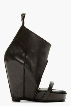 black leather covered wedge heels women shoes