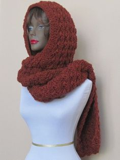 Hooded scarf cowl neck wrap neck warmer in Spice  by FlaxDesigns, $75.00
