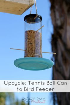 Turn an old tennis ball can into a bird feeder. Fun kids project and great way to recycle!