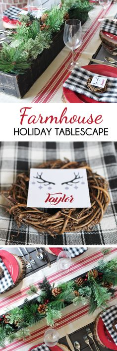 See more of our farmhouse holiday tablescape on the blog!  #farmhousetable #farmhousetabledecor #farmhouseholiday #countryholiday #countryholidayideas #countryholidaytablescape #farmhousedecor