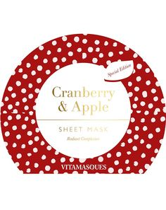Vitamasques Cranberry and Apple Sheet Mask - Snabb leverans Cranberry Fruit, Cherry Fruit, Apple Fruit, Glow Mask, Sheet Mask, Skin Brightening, Castor Oil, Masks, Moisturizer