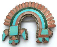 Fadrian Bowannie Zuni Sterling Silver Multi-Stone Inlaid Pin/Pendant