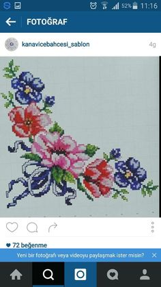 K Cross Stitch Embroidery, Cross Stitch Patterns, Anemone Flower, Flower Coloring Pages, Bargello, Needlework, Diy And Crafts, Projects To Try, Handmade