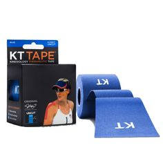 KT Tape Original Cotton Uncut Rolls - Blue: made with a light adhesive suitable for individuals participating in light exercise or exercise therapy