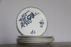Antique French Faience Blue Transferware Favori by maintenant