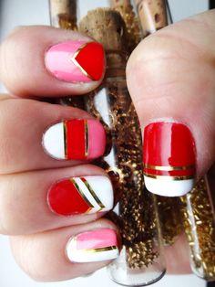 Valentine Geometric Nail Art.  Used gold nail tape to highlight geometric designs. #nailart