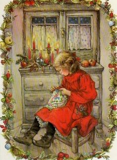 Vintage Tasha Tudor Art ~ Stitching-Up Christmas Gifts Christmas Scenes, Christmas Pictures, Christmas Art, Christmas Sewing, Xmas, Vintage Christmas Cards, Vintage Cards, Vintage Postcards, Christmas Postcards