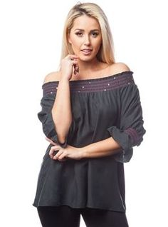 100% SILK! BANDED, BOHO-CHIC TOP! Black. - 5dollarfashions.com