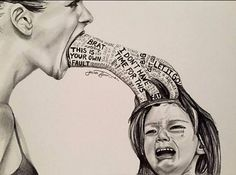 Stop child abuse! Verbal, emotional and psychological child abuse art - unknown artist Emotional Art, Meaningful Art, Art Drawings, Art Therapy, Drawings, Powerful Images, Deep Art, Art, Dark Art