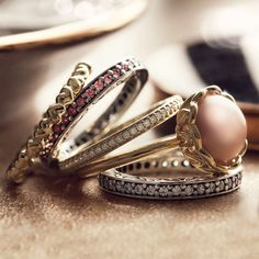 Stackable rings. Especially love the pink one.