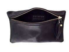 Black Leather Pouch / Clutch /Cosmetic bag by TwistedAristocrat, $75.00