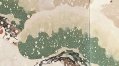 Detail. Pine in snow by 鈴木基一 Kiitsu Suzuki. Japanese hanging scroll. Nineteenth century.
