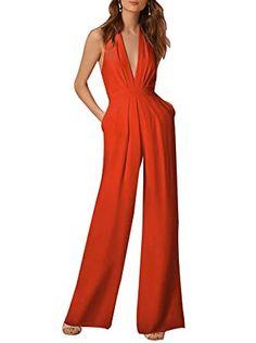 7eea68c832 Indistyle Women s Elegant Deep V Neck Backless Halter Jumpsuit Sleeveless  Wide Long Pants Rompers Orange