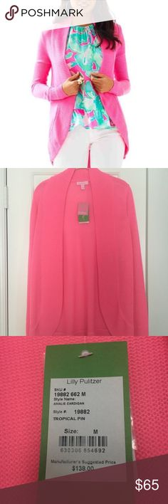 NWT Lilly Pulitzer Tropical Pink Amalie Cardigan Tropical Pink Lilly Pulitzer Sweaters Cardigans