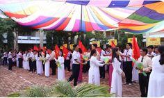 Cho thuê dù che-Lễ Khai giảng trường THPT Trần Văn Giàu