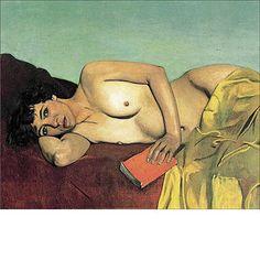 """""""La Lecture abandonnée"""", 1924 - Félix Vallotton a peint ce tableau un an avant sa mort. Le modèle a interrompu sa lecture pour considérer du regard le peintre, ou le spectateur. La rêverie de la lecture n'est plus présente dans l'image, la sensualité du nu est suspendue par ce regard dardé sur nous."""