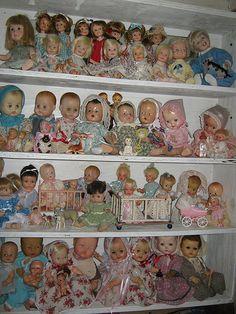 shelves of dolls