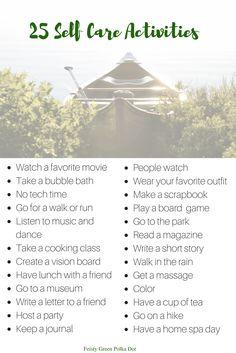 25 Self Care Activities