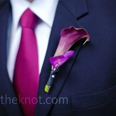 purple calla buttonhole