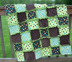 Chocolate Pistachio Crib Rag Quilt...Soft by FlufferNutterQuilts