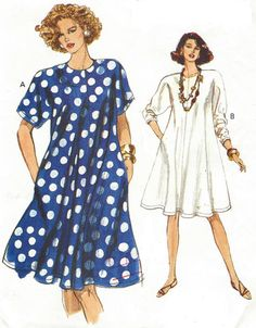 90s Womens Swing Dress Dolman Sleeves Very Easy Very Vogue Sewing Pattern 7743 Size 12 14 16 Bust 34 36 38 Tent Dress Pattern