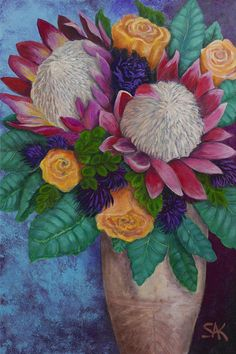 Queen Proteas and Orange Roses Acrylic Painting Stretched