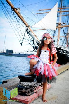 Pirate Costume, Pirate Tutu, Captain Hook, Peter Pan, Skull and Bones, Pirate Birthday, Outfit of Choice, Halloween Tutu Costume via Etsy