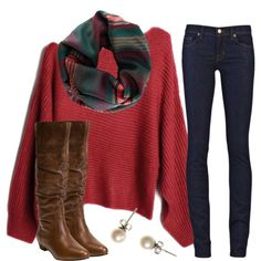 red long sleeve wool irregular pullover - brown riding boots - pearl earrings - dark wash skinny jeans - striped red/green/dark blue/ tan infinity scarf