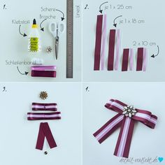 Making bow brooch yourself // DIY - Autzfizz - Schmuck Ribbon Hair Bows, Diy Ribbon, Ribbon Crafts, Bird Template, Glam And Glitter, Rhinestone Bow, Diy Bow, Boutique Bows, Diy Schmuck